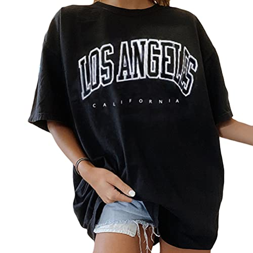 Tomwell Damen T-Shirt Sommer Kurzarm Grafikdruck Shirt Tunika Lose Rundhals Longshirt Frauen Bluse Oberteile Lang Tops für Teen Girls Sommer Schwarz L