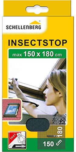 Schellenberg 50329 Fliegengitter für Dachfenster mit Reißverschluss, Insektenschutz, 150 x 180 cm, UV-stabil, einfache Montage ohne bohren, inkl. Klebestreifen