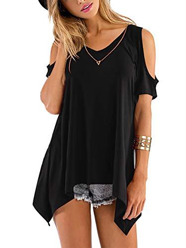 Beluring Tops Damen Sommer T Shirt Oberteil Tops Bluse mit V Ausschnitte, A-aschwarz, 42-44 (Herstellergröße: L)