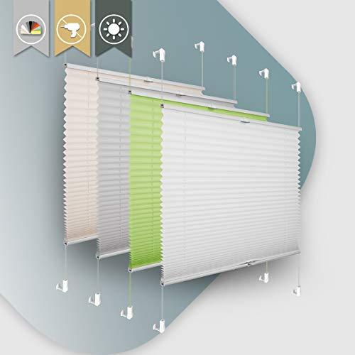 Plissee ohne Bohren klemmfix Jalousie Sonnenschutz Easyfix Faltrollo Crushed Optik Lichtdurchlässig Rollo für Fenster & Tür Weiß 85x200cm(BXH)