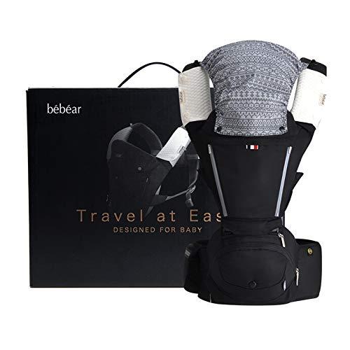 Bebamour 6 in 1 Babytrage mit Hüftsitz, für 0-36 Monate Neugeborene Kleinkinder, ergonomisches Design mit verstellbarem Gurt (Schwarz)