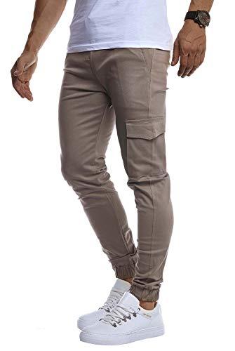 Leif Nelson Herren Jogger Chinos Cargo Stretch Jogging Männer Basic Jogg Cargohose Streifen Jogginghose Jungen Freizeithose Jeans-Hosen Sweatpants Streifen Chinohosen LN8071 Grau XX-Large