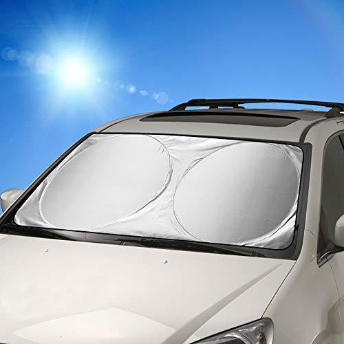 Auto Sonnenschutz, FRECOO Sommer Falten Sonnenschutz für Frontscheibe Auto Sonnenblende, Von Windschutzscheibe Sunshade für Kinder, Hunde und Babys Mit UV Schutz ,160 * 86 cm