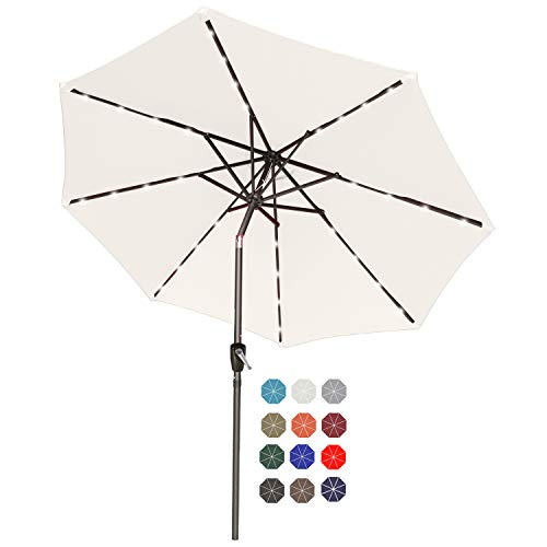 ABCCANOPY 230cm Gartenschirm Sonnenschirm neigbar mit 32 Solar-LED-Lichtern,für Garten,Deck,Schwimmbad,Sandstrand,beige