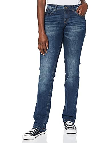 TOM TAILOR Damen Alexa Straight Jeans, Mid Stone Wash Denim, 30W / 32L