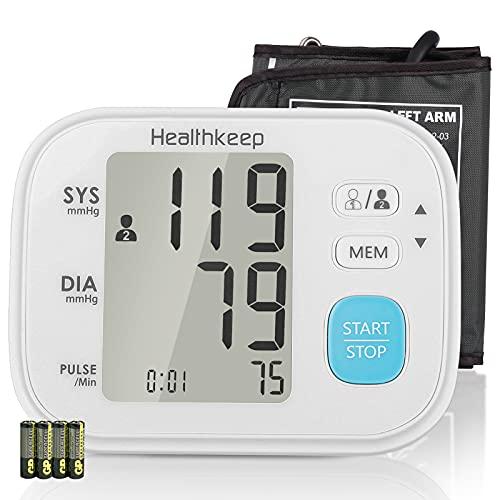 Healthkeep Oberarm-Blutdruckmessgerät, Vollautomatische Blutdruck und Pulsmessung mit Arrhythmie-Erkennung, Große LCD-Anzeige, 2x60 Dual-User-Modus, mit 22-32cm Blutdruckmanschette, Weiß