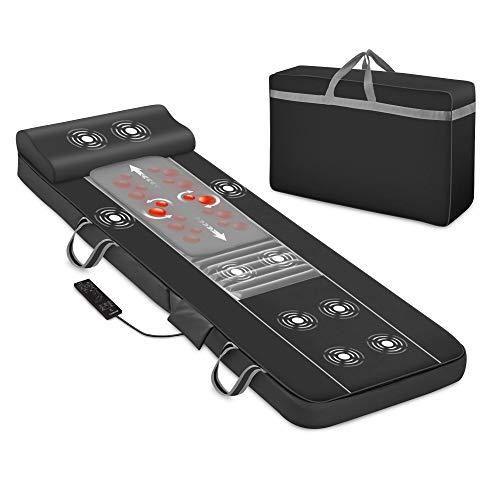 Comfier Massagematte mit Wärmefunktion, Shiatsu-Rückenmassagegerät und 10 Vibrationsmotoren, elektrisches Ganzkörpermassagematte, Massagegerät für Nacken und Rücken, Geschenke für Damen, Herren