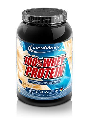 IronMaxx 100% Whey Protein - 900g Dose - 18 Portionen - French Vanilla - Hochwertiges Eiweißpulver für Proteinshake auf Wasserbasis - 36 leckere Geschmäcker - Designed in Germany