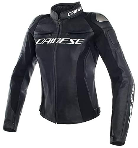 Dainese Motorradjacke mit Protektoren Motorrad Jacke Racing 3 Damen Lederjacke schwarz 40 (XS), Sportler, Sommer