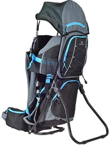 Ultrapower Kindertrage | Kinderkraxe für den Tagesausflug | Frauen & Männer Tragerucksack | Kraxe zum Wandern mit Babys | Babytrage Rucksack | Rückentrage | Baby-Carrier Wombat grau blau | Neverland