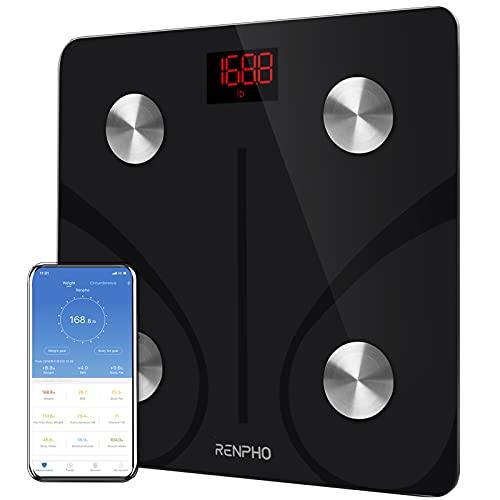 RENPHO Körperfettwaage Digital Personenwaagen Bluetooth Körperanalysewaage mit App Smart Waage für Körperfett, BMI, Muskelmasse, Protein, BMR, Schwarz