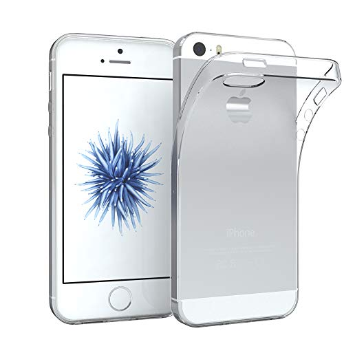 EAZY CASE Hülle kompatibel mit iPhone 5 / 5S / SE (2016) Schutzhülle Silikon, Ultra dünn Slimcover, Handyhülle, Silikonhülle, Backcover, Transparent/Durchsichtig, Transparent