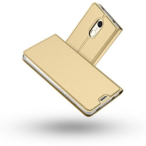 RADOO Redmi Note 4X Hülle, Premium PU Leder Handyhülle Brieftasche-Stil Magnetisch Folio Flip Klapphülle Etui Brieftasche Hülle Schutzhülle Tasche Case Cover für Xiaomi Redmi Note 4X (Gold)