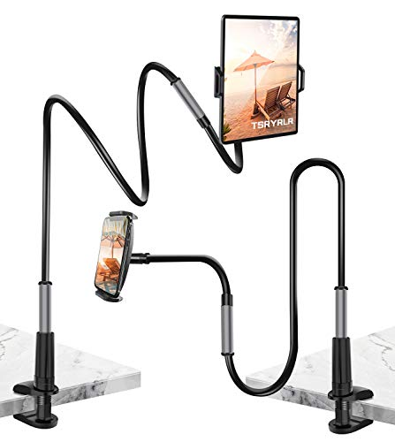 Tsryrlr Schwanenhals Tablet Halterung Bett, Tablet Halter - Flexible Einstellbare Lang Arm Tablethalterungen für iPad Pro Air Mini/Samsung Tab/Handy/Switch,und Weitere 4,7-10,5 Zoll Geräte