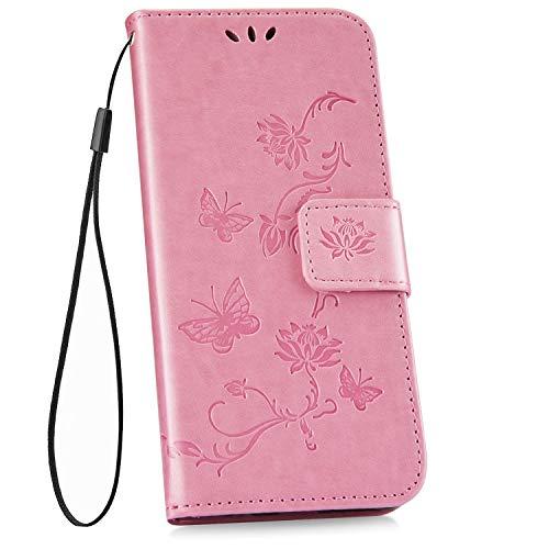 Ysimee kompatibel mit Samsung Galaxy S10 Hülle im PU Leder, Handytasche Flip Brieftasche Cover Schutzhülle Ledertasche Wallet Lederhülle Etui Klapphülle Kartenfächer Schmetterling, Blume- Rosa