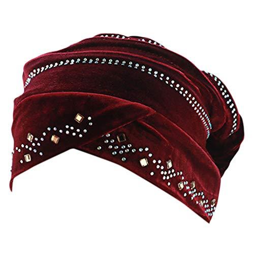 DOLDOA Hut Damen Sommer,Damen Perlen Turban Hut muslimischen Krebs Chemo Haarausfall Cap (Weinrot)