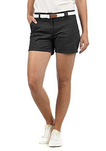 DESIRES Chanett Damen Chino Shorts Bermuda Kurze Hose mit Gürtel, Größe:36, Farbe:Black (9000)