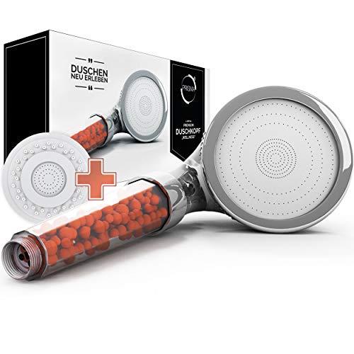 PRISMA Premium Duschkopf Handbrause wassersparend mit Druckerhöhung für mehr Wasserdruck - Brausekopf, Regendusche und Massage Funktion