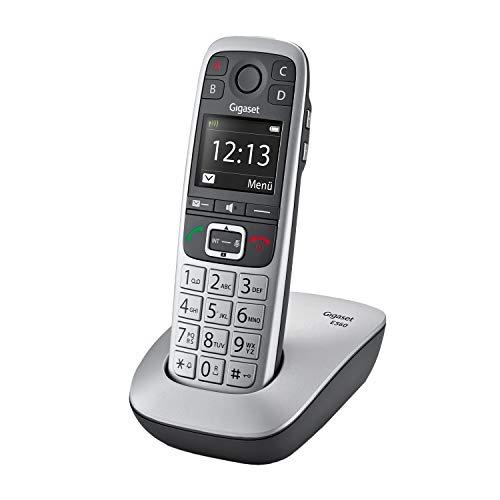 Gigaset E560, Schnurloses Seniorentelefon, Notruftaste für 4 SOS-Nummern, seitliche Extra-Laut-Taste, Freisprechen in exzellenter Klangqualität, Tastenfeld mit extragroßen Tasten, silber