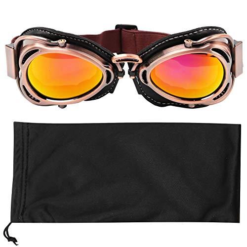 Retro Motorradbrille Motorrad Schutzbrille Outdoor-Sicherheit Augenschutz Brille staubdicht Fliegerbrille Winddichte Brille Bogenförmige Brille Outdoor-Sport Radfahren Reiten Skifahren(Bronzefarben)