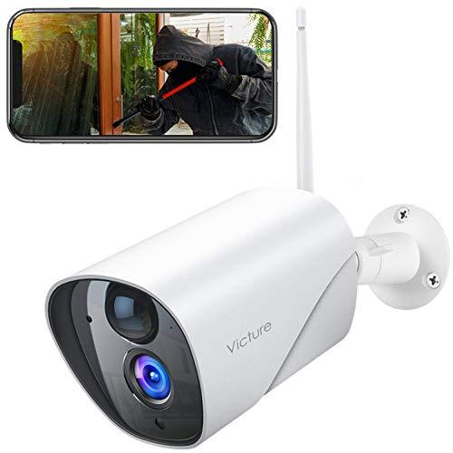 Victure Überwachungskamera Aussen, 1080P WLAN IP Kamera mit PIR Bewegungserkennung, Wasserdichter und Nachtsicht, 2.4Ghz WiFi Outdoor Bullet Kamera, kompatibel mit IOS/Android