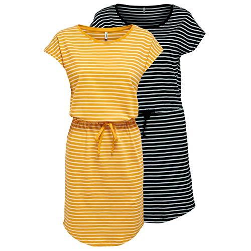 ONLY Damen Sommer Mini Kleid onlMAY S/S Dress 2er Pack XS S M L XL XXL Gestreift Schwarz 100% Baumwolle, Größe:L, Farbe:Black Thin Stripe & Mango Mojito