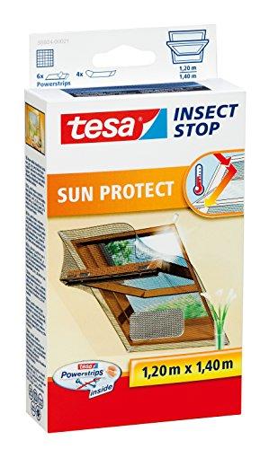 tesa Insect Stop SUN PROTECT Fliegengitter für Dachfenster - Insektenschutz mit Blend- und Sonnenschutz für Dach-Fenster - Fliegen Netz 120 cm x 140 cm