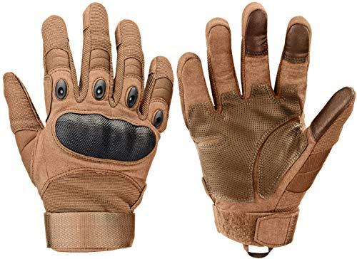 Xnuoyo Gloves Gummi Hart Vollfinger und Halbe Fingerhandschuhe Touchscreen Handschuhe für Motorrad Radfahren Jagd Klettern Camping(M, braun)