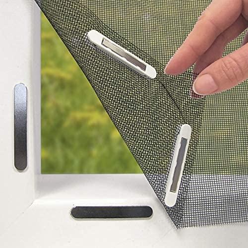 Hoberg 07660 Fenster-Fliegengitter mit innovativer Magnetbefestigung | Bis zu 150 x 130 cm individuell zuschneidbar, kein Bohren oder Schrauben, 16 Magnet-Clips, schwarz