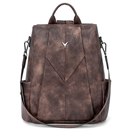 WESTBRONCO Leder Rucksack für Damen Anti Diebstahl Rucksack Handtasche 2 in 1 Schultertasche Daypacks Kaffee