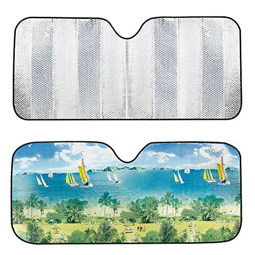 Fusiyu, Auto-Sonnenschutz vorne, Sonnenschutz für Windschutzscheibe, faltbar, für Fahrzeug, UV-Schutz, Windschutzscheibe, Auto, Geländewagen, Kleinbusse, (130 x 60 cm)