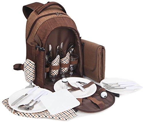 Brubaker Picknickrucksack für 4 Personen Braun 28,5 × 42,5 x 19 cm - inkl. Kühlfach + Fleece-Picknickdecke mit wasserfester Unterseite