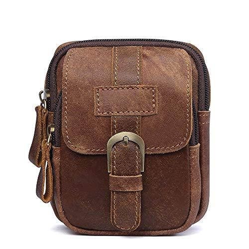 LANZHEN-RY Langlebig Mode Ledergürteltasche Kuhledermänner Fanny-Satz-Taillen Multifunktionales Freizeit Shopping Geschäftsreise-Tasche Geldbeutel (Color : Brown, Size : S)