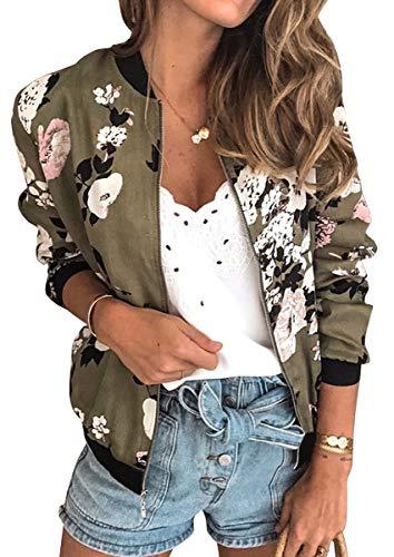 ECOWISH Damen Casual Jacke Blumenmuster Langarm Bomberjacke Reißverschluss Stehkragen Outwear Kurz Coat Herbst Frühling