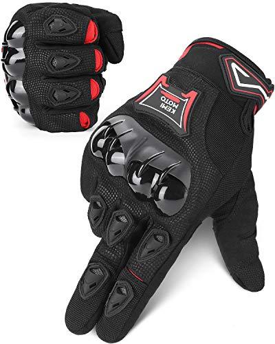 ISSYZONE Motorrad Handschuhe, Sommer Sport Handschuhe mit Touchscreen, Hartem Knöchelschutz, Atmungsaktive Vollfingerhandschuhe für Motorrad Radfahren Camping Outdoor-Aktivität, Sportarten (L)