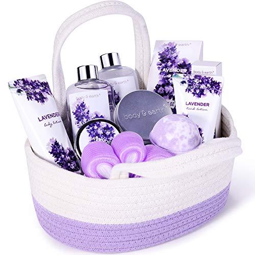 Lavendel Bad Geschenkkorb, Body & Earth 11-tlg. Körperpflegeset, Wellness Set für Frauen, Ätherisches Lavendelöl, peeling, Badesalz, Schaumbad, Duschgel, Body Lotion, Handcreme, Geburtstag Geschenke