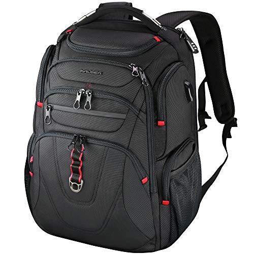 KROSER Laptop Rucksack 17,3 Zoll Reise Business Daypack Schwerlast Wasserdicht mit Hartgeschältem Sicherheitsraum Ladeanschluss RFID Tasche für Männer/Frauen/College/Schule -Schwarz MEHRWEG