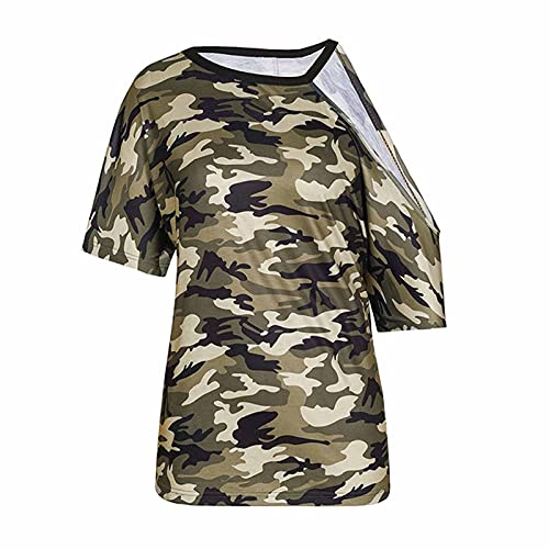 Bluse Damen Kurzarm Schulterfrei Oberteil Damen Off Shoulder Top Sommer Shirt Tarnung Sommer Strand T-Shirt