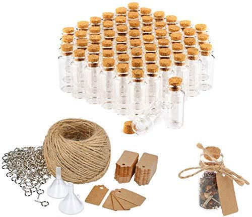 com-four® 60x Glasfläschchen ideales Gastgeschenk zur Hochzeit oder Geburtstag, Zubehör für Hochzeit, Tee, Gewürzen, Samen, Kräutern ca. 10 ml (060 Stück + Zubehör)