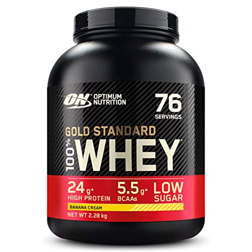 Optimum Nutrition ON Gold Standard Whey Protein Pulver, Eiweißpulver Muskelaufbau mit Glutamin und Aminosäuren, natürlich enthaltene BCAA, Banana Cream, 76 Portionen, 2,28kg