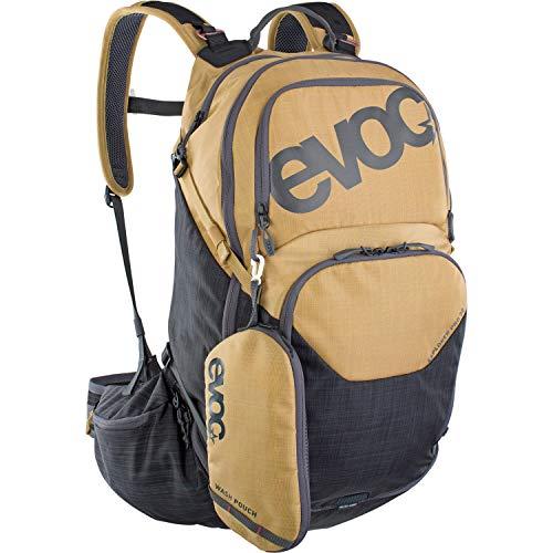 EVOC EXPLORER PRO 30l Rucksack Tourenrucksack für Bike-Touren & Trails (Riesiger 30l Stauraum, kluges Taschenmanagement, inkl.Regenhülle, Trinkblasenfach), Gold / Carbon Grau