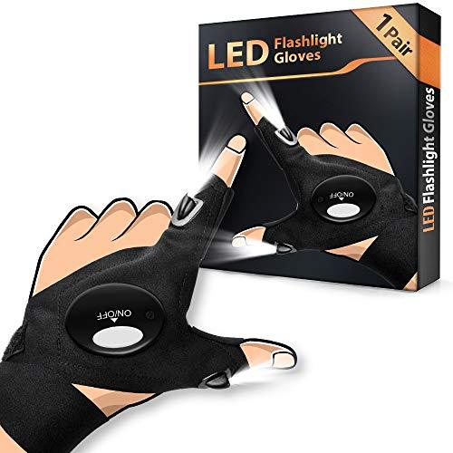 Angelzubehör LED Handschuhe Geschenke für Männer - Angeln Geschenk Handschuhe mit Wasserdichtem Licht, Gadgets für Männer Handwerker Werkzeug Geschenke, Coole Gadgets für Angeln/ Camping/ Radfahren