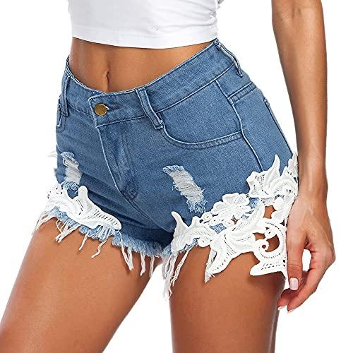 DELEY Frauen Spitze Häkeln Tassel Hohe Taille Denim Shorts Lochjeans Jeans Hot Pants mit Taschen Größe M