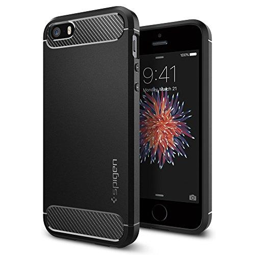 Spigen Rugged Armor Hülle Kompatibel mit iPhone SE, iPhone 5s und iPhone 5 -Schwarz