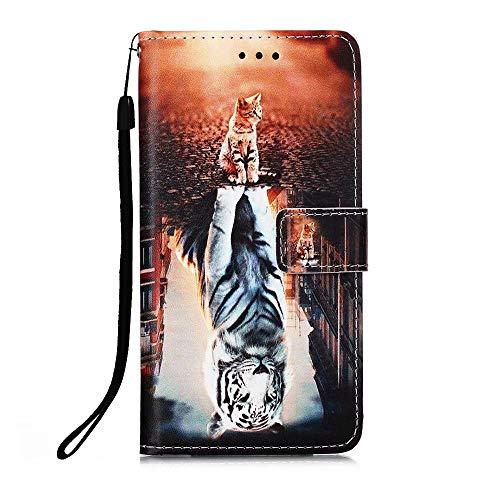 Nadoli Leder Hülle für Xiaomi Redmi Note 9S,Bunt Katze Tiger Malerei Ultra Dünne Magnetverschluss Standfunktion Handyhülle Tasche Brieftasche Etui Schutzhülle