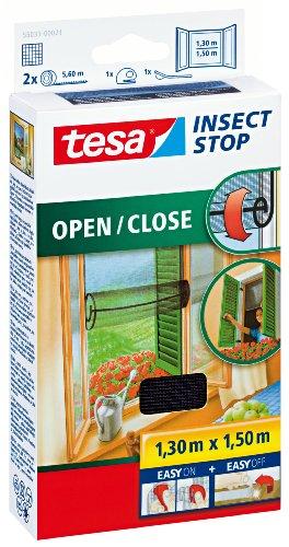 tesa Insect Stop COMFORT Open / Close Fliegengitter Fenster zum Öffnen und Schließen - Insektenschutz Rollo selbstklebend - Anthrazit, 130 cm x 150 cm