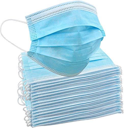 50 Stück Einweg-Gesichtsmasken   Innen- und Außenschutz für Nase und Mund mit 3-lagigem Sicherheitsschutz, elastische Ohrschlaufen & bequemes für Erwachsene & Kinder