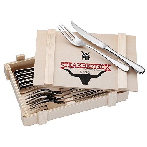 WMF Steakbesteck 12-teilig, Steakbesteck Set für 6 Personen, Steakmesser, Steakgabel, Cromargan Edelstahl poliert, Grillbesteck in Holzkiste