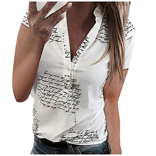 Generic Sommer Bluse Damen Elegantes T-Shirt mit V-Ausschnitt Kurzarm Slim Fit Blusen Shirt Tunika Sommershirts Lose Sexy Tops Sommerbluse Sweatshirt Pullover Hemdbluse für Teenager Mädchen