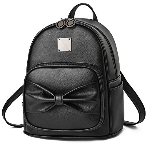 Mädchen-Rucksack mit Schleife, niedlicher Leder-Rucksack, Mini-Handtasche für Frauen, Schwarz , Medium